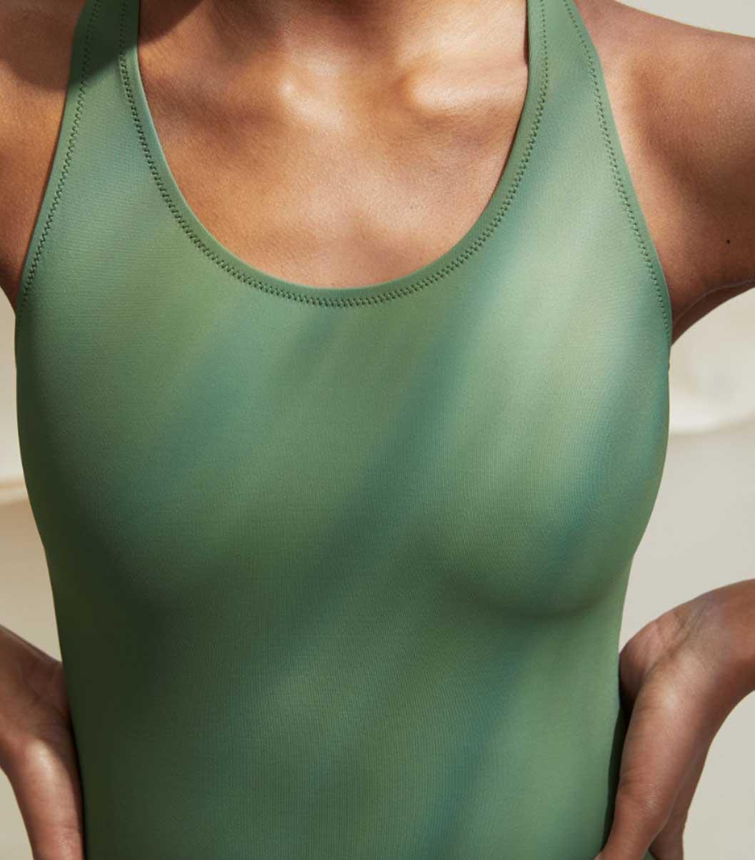 Arket sustainable swim wear brand ARKET Olive one piece eco lookbook
