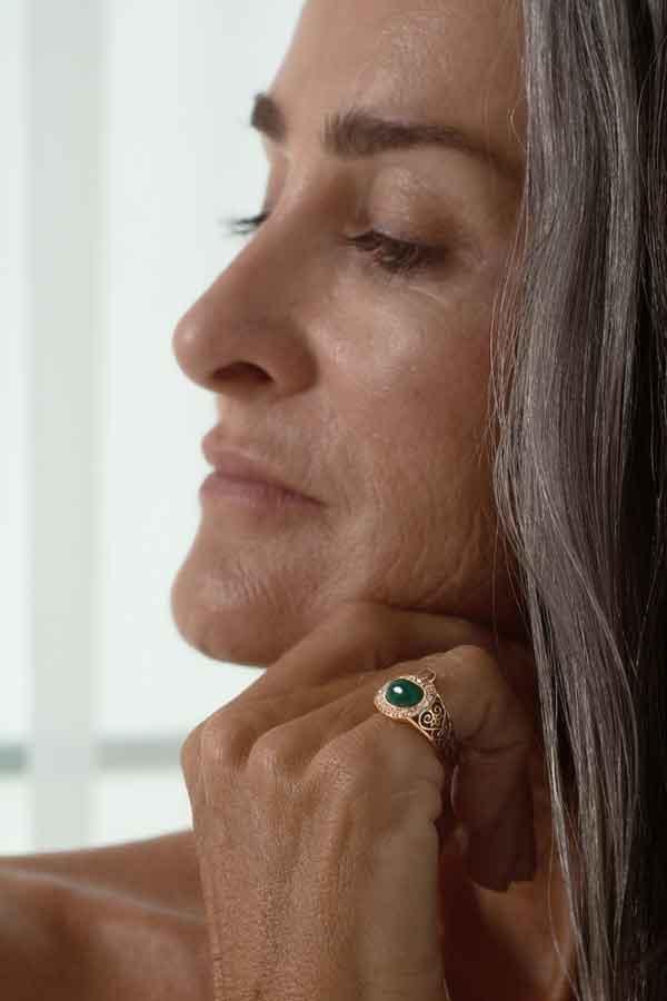 Donna Hourani Arabia Emerald ring white brown diamonds hand made Eco Lookbook