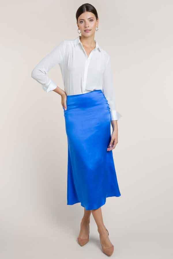 Eco Lookbook Global sustainable ethical fashion UK BEULAH blue pari satin skirt