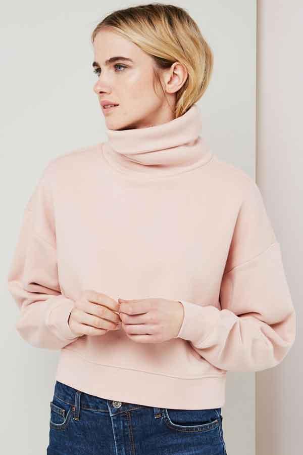 Organic cotton funnel-neck sweatshirt NENETY PERCENT Eco Lookbook sustainable fashion
