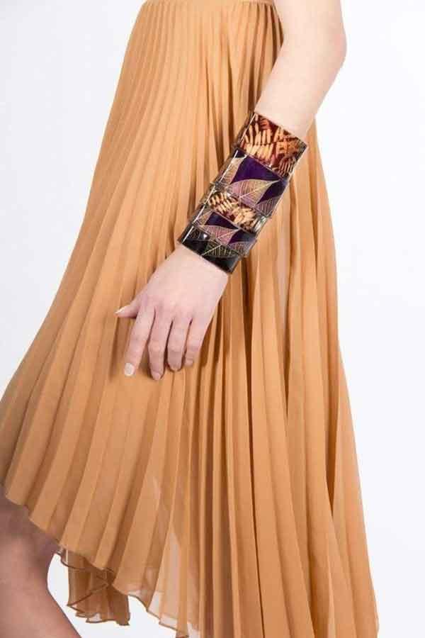 Global Eco Lookbook UK SUE GREGOR Purple-Taupe-Skeleton-Leaf-Recycled-Perspex-Bracelet