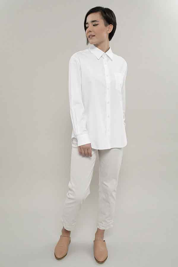 GRAMMAR NY Global Eco Lookbook The Agent Shirt in White Sustainable and ethical fashion guide