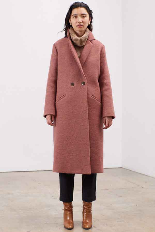 MARA HOFFMAN Global Eco Lookbook sustainable fashion ethical Dolores boiled wool coat in dusty rose