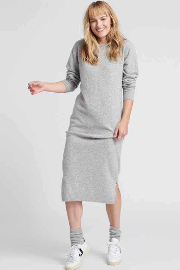 NAADAM Wool Cashmere Swearter Dress Cement Global Eco Lookbook Sustainable and ethical fashion guide