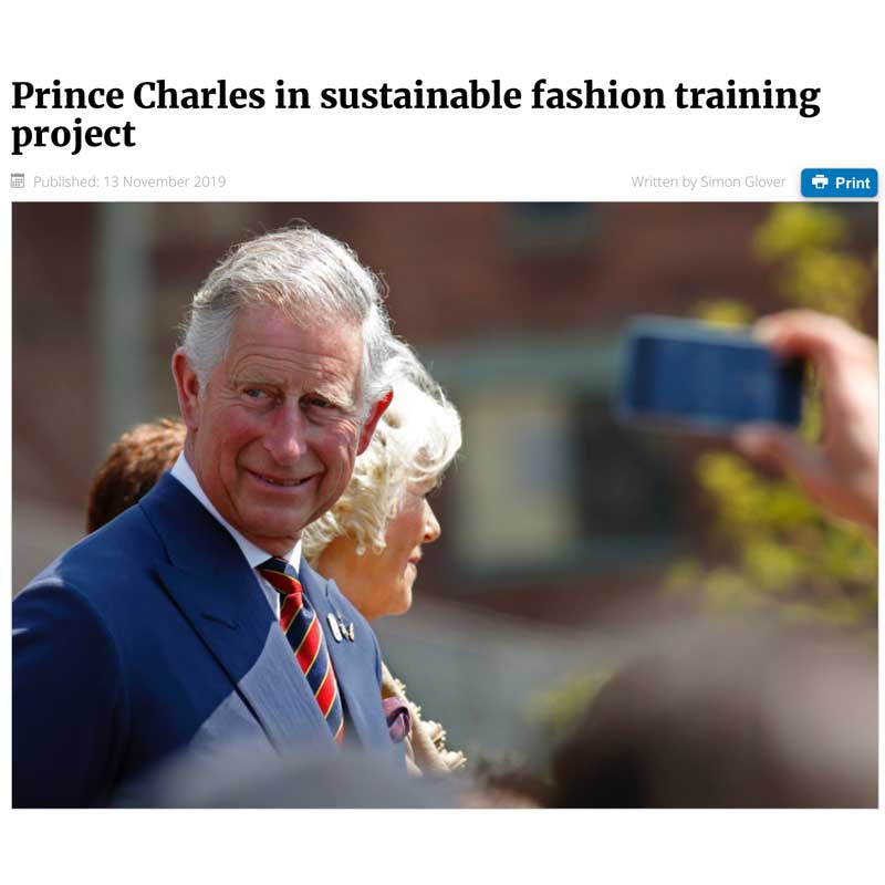 Prince Charles in sustainable fashion training project ECOTEXTILE NEWS