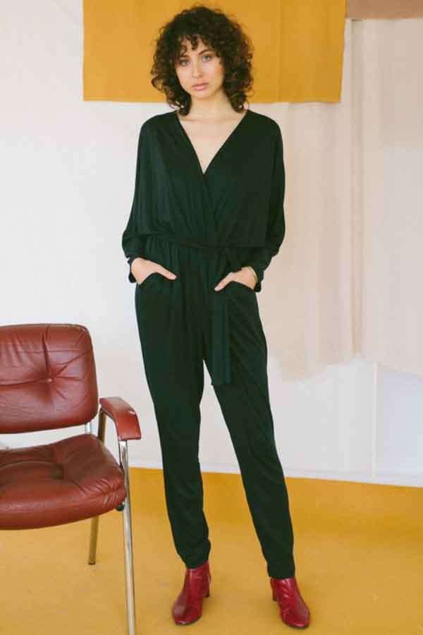 COSSAC black jumpsuit ethical sustainable good fashion guide ECOLOOKBOOK