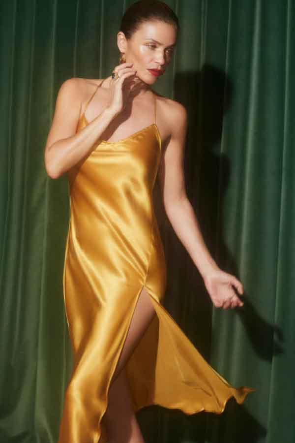 REFORMATION HAMLET DRESS GOLD ethcial sustainable good fashion guide ECOLOOKBOOK