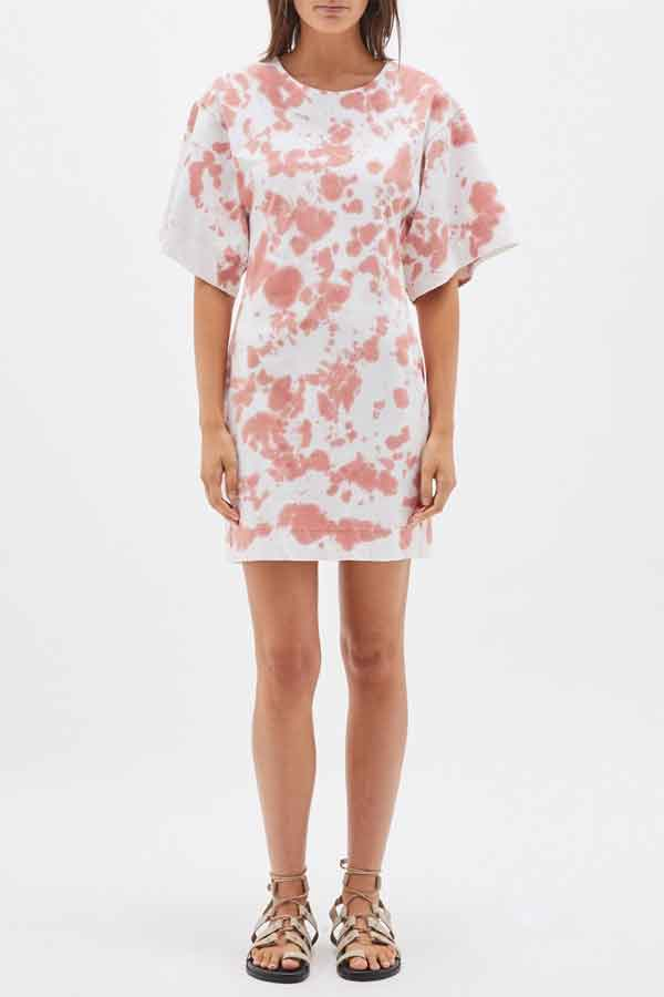 Bassike Sustainable Fashion | motley double jersety batwing short sleeve dress in white and coral