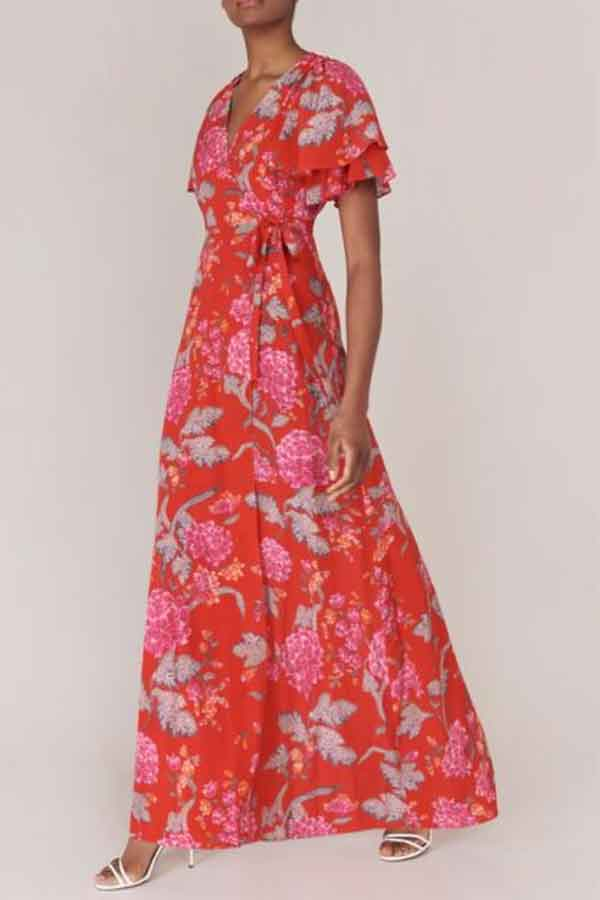 Beulah London Ethical Fashion Florine Red Dallia Floral Long Wrap Dress